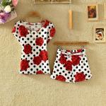 แฟชั่นชุดเซทเกาหลีมาใหม่ ของผู้หญิงพิมพ์แขนสั้นเสื้อยืดกางเกงขายาวเป็นบางแฟชั่นสบาย ๆ set 5 - red peony