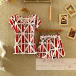 แฟชั่นชุดเซทเกาหลีมาใหม่ ของผู้หญิงพิมพ์แขนสั้นเสื้อยืดกางเกงขายาวเป็นบางแฟชั่นสบาย ๆ set 2 - white red