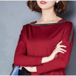 เสื้อแขนยาวแฟชั่น ตัดเย็บด้วยผ้าเนื้อดี - แดง แขนธรรมดา