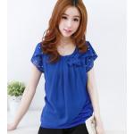 เสื้อแฟชั่นเกาหลี ตกแต่งด้วยโบว์ขนาดกำลังดีและเพิ่มมุกประดับเข้ากับตัวเสื้อ - น้ำเงิน L