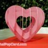 การ์ดป๊อปอัพ หัวใจสานสีชมพู พื้นสีแดง