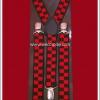 สายเอี๊ยมลายหมากรุก สีแดง-ดำ