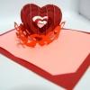 A23 การ์ดป๊อปอัพ หัวใจสานสีแดงประกายมุก พื้นสีชมพูแสด