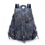 *Pre Order* กระเป๋าเป้แฟชั่นผ้ายีนส์นิ่มแต่งหมุดโลหะ-ซับในผ้าโพลีเอสเตอร์ สีดำ/สีน้ำเงิน ขนาด 30x37x15 cm.