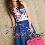 Zara floral print top with denim long skirt set