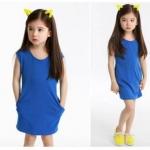 ชุดเดรสสาวน้อยสีน้ำเงิน