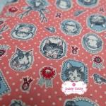 ผ้าคอตตอนไทย 100% 1/4 ม.(50x55ซม.) พื้นสีส้มอิฐ ลายแมว