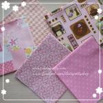 Set 5 ชิ้น : ผ้าคอตตอนไทย 4 ลาย และผ้าคอตตอนลินิน(ลายน้องซู) โทนสีชมพู