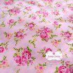 ผ้าคอตตอนไทย 100% 1/4 ม.(50x55ซม.) พื้นสีชมพู ลายดอกไม้