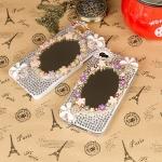 เคสไอโฟน 5/5s เคสไอโฟนกรอบขาวประดับเพชรและกระจกดอกไม้หลากสี