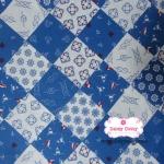 ผ้าคอตตอนไทย 100% 1/4ม.(50x55ซม.) พื้นสีฟ้า-ขาว ลายกะลาสี