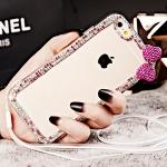 เคสไอโฟน 6 Plus (เคสนิ่ม TPU Case)กรอบใสประดับเพชรชมพูและโบว์ชมพู พร้อมสายคล้องคอ