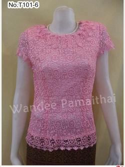 เสื้อลูกไม้นอก ประดับด้วยมุขรอบคอ สีชมพู เบอร์ 36