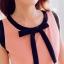 เดรสสั้นเกาหลีทรงแขนกุด สีสวย ดูดี ตกแต่งด้วยโบว์ที่คอเสื้อ เน้นสีเส้นตัดกับสีชุด น่ารักฝุดๆ thumbnail 7
