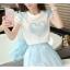 เสื้อพร้อมกระโปรงแฟชั่น ลายสีฟ้าสวยๆ ปักลายประณีต น่าใส่มากๆ thumbnail 15