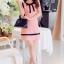 เดรสสั้นเกาหลีทรงแขนกุด สีสวย ดูดี ตกแต่งด้วยโบว์ที่คอเสื้อ เน้นสีเส้นตัดกับสีชุด น่ารักฝุดๆ thumbnail 4