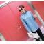 เสื้อแฟชั่นเกาหลีแขนยาว ผ้ายีนส์ซีด ตกแต่งหมุดเพิ่มลวดลายให้ตัวเสื้อ thumbnail 1