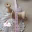ริบบิ้นผ้าแถบ สีชมพู ลายหัวใจสีม่วง กว้าง 1 ซ.ม. แบ่งขายเป็นหลา thumbnail 3