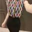 เสื้อแฟชั่นแขนกุด สีสันสวยงาม ลายข้าวหลามตัด สีสันสไตล์ colorful thumbnail 5