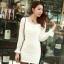 เดรสสั้นเกาหลี แขนยาวซีทรู ตกแต่งตัวเสื้อด้วยคริสตัล ระยิบระยับ thumbnail 6