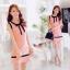เดรสสั้นเกาหลีทรงแขนกุด สีสวย ดูดี ตกแต่งด้วยโบว์ที่คอเสื้อ เน้นสีเส้นตัดกับสีชุด น่ารักฝุดๆ thumbnail 3