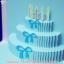 A38 การ์ดป๊อปอัพไดคัท Happy Birthday Cake สีฟ้า thumbnail 3