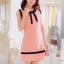 เดรสสั้นเกาหลีทรงแขนกุด สีสวย ดูดี ตกแต่งด้วยโบว์ที่คอเสื้อ เน้นสีเส้นตัดกับสีชุด น่ารักฝุดๆ thumbnail 5