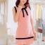 เดรสสั้นเกาหลีทรงแขนกุด สีสวย ดูดี ตกแต่งด้วยโบว์ที่คอเสื้อ เน้นสีเส้นตัดกับสีชุด น่ารักฝุดๆ thumbnail 2