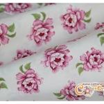 ผ้าคอตตอนไทยลายดอกไม้พื้นสีครีม (ขนาด 50x55ซม)